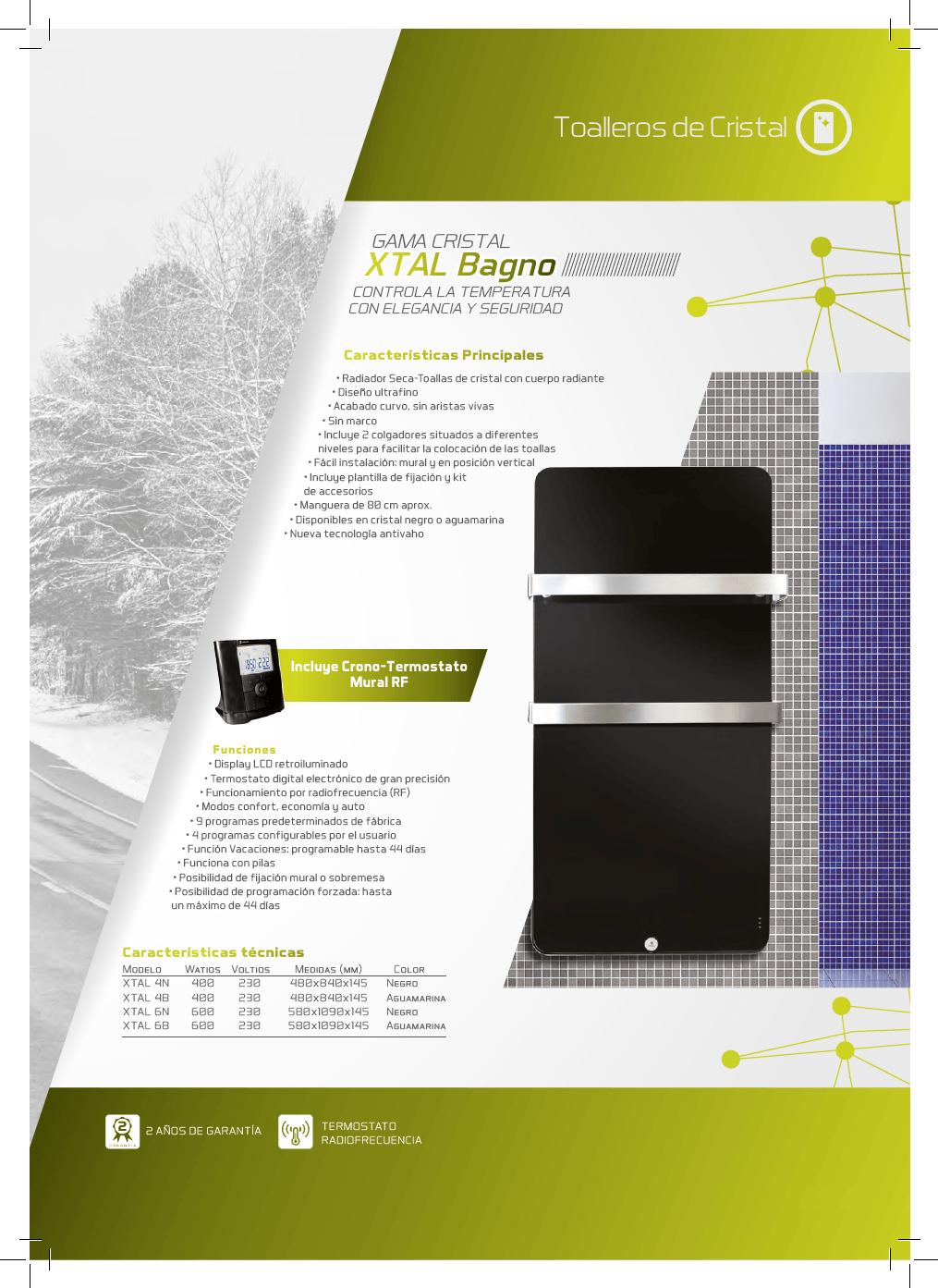 Toallero eléctrico Haverland XTAL. Radiador seca-toallas de cristal