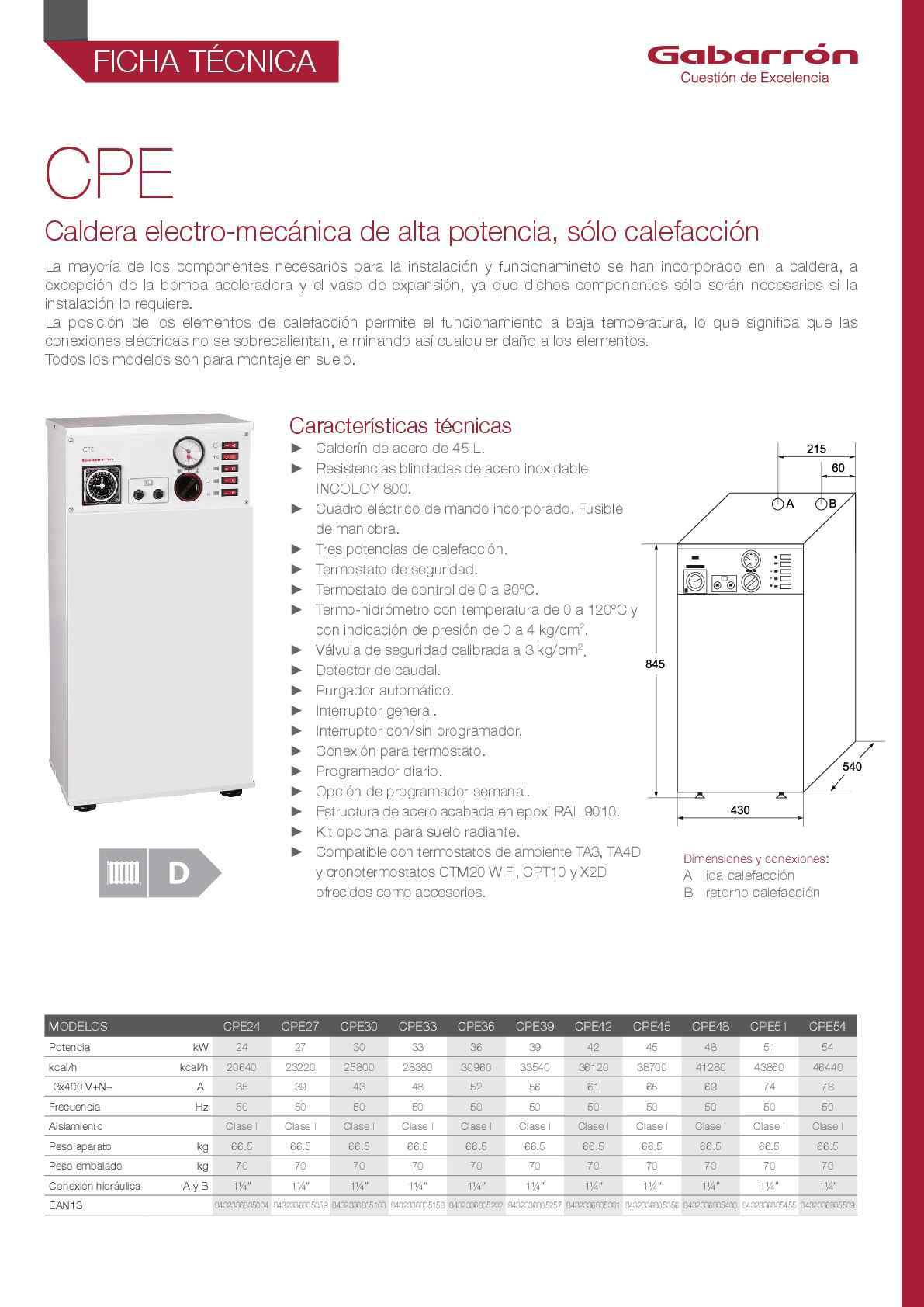 Caldera eléctrica Gabarrón CPE