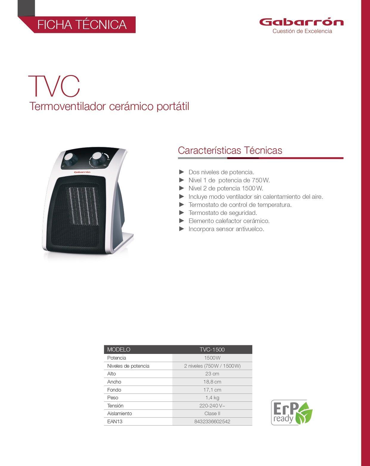 Termoventilador portátil Gabarron TVC