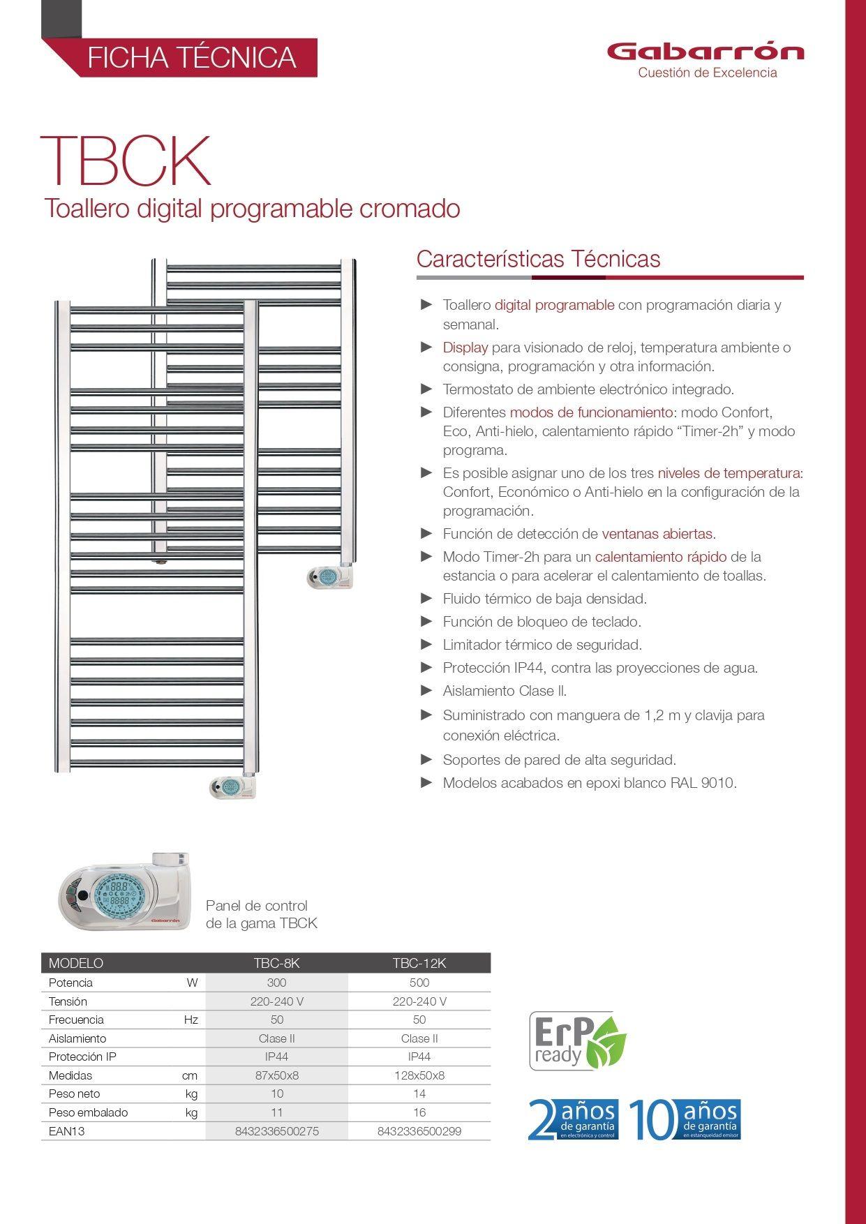 Ficha técnica toallero Gabarron TBCK
