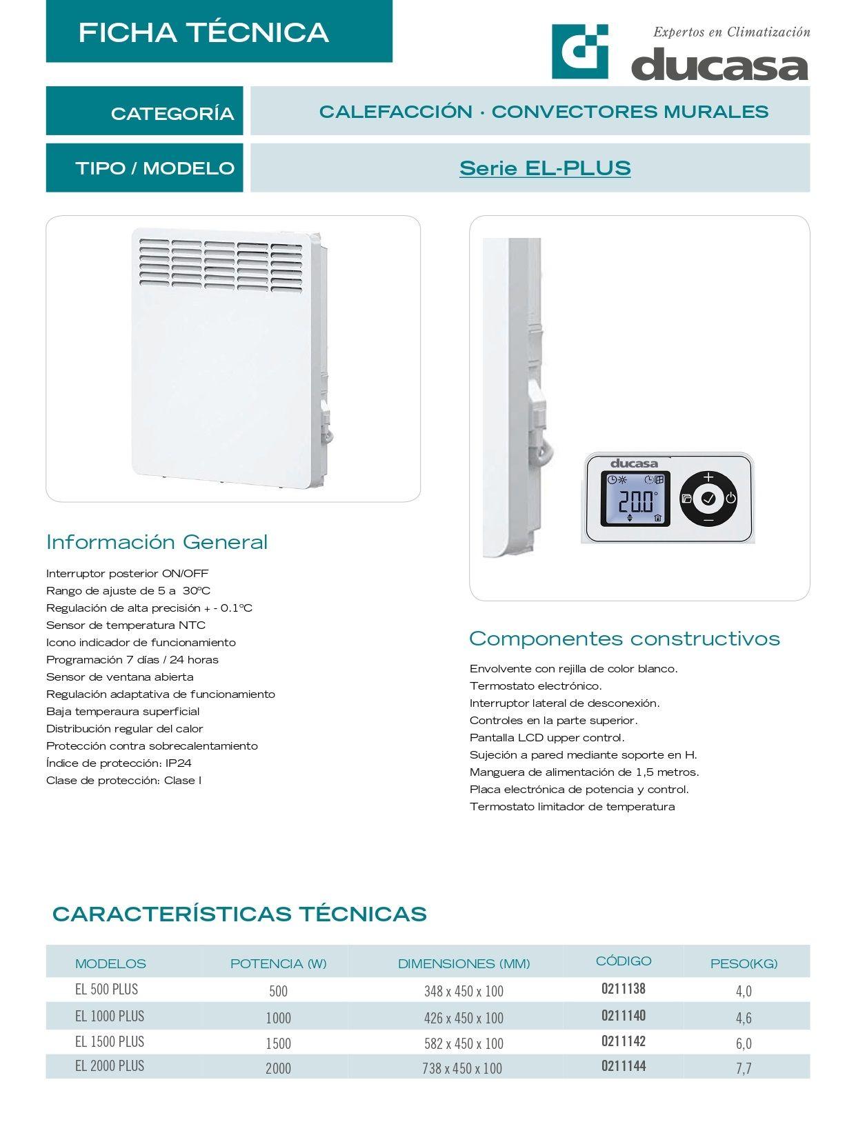 Ficha técnica Convector Ducasa EL PLUS