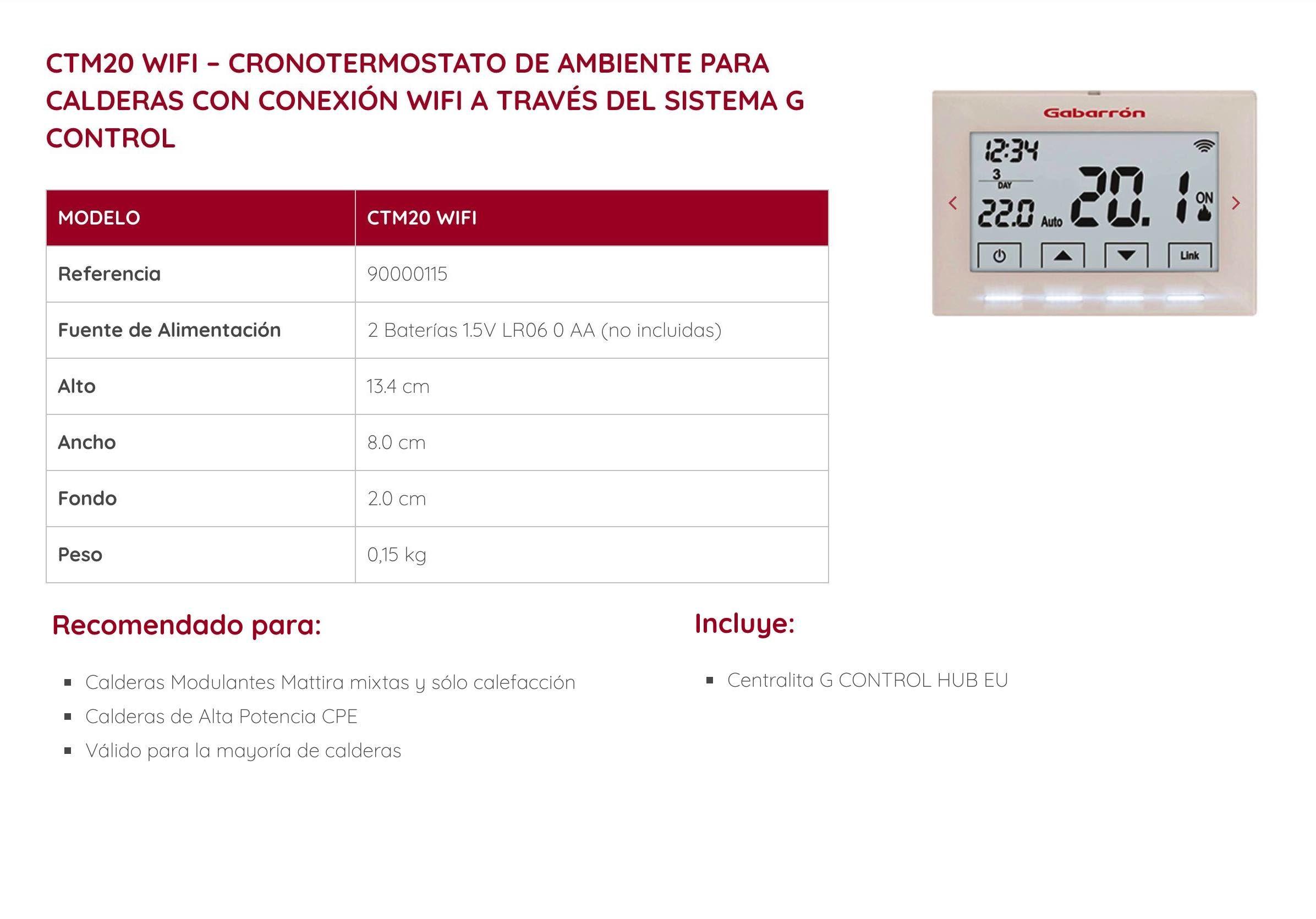 Cronotermostato de ambiente Gabarrón CTM20 Wifi