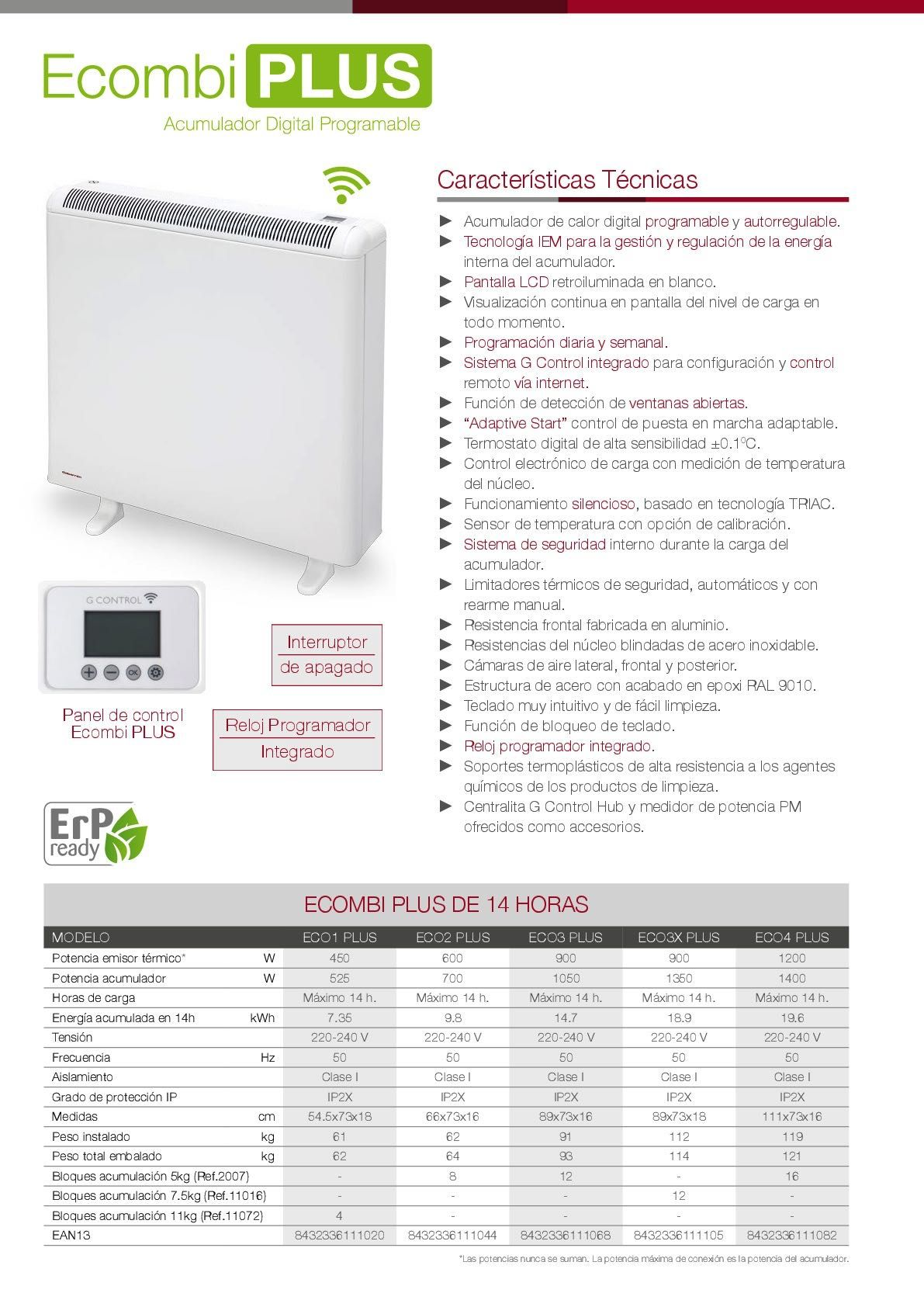 Ficha técnica Acumulador Gabarron Ecombi Plus