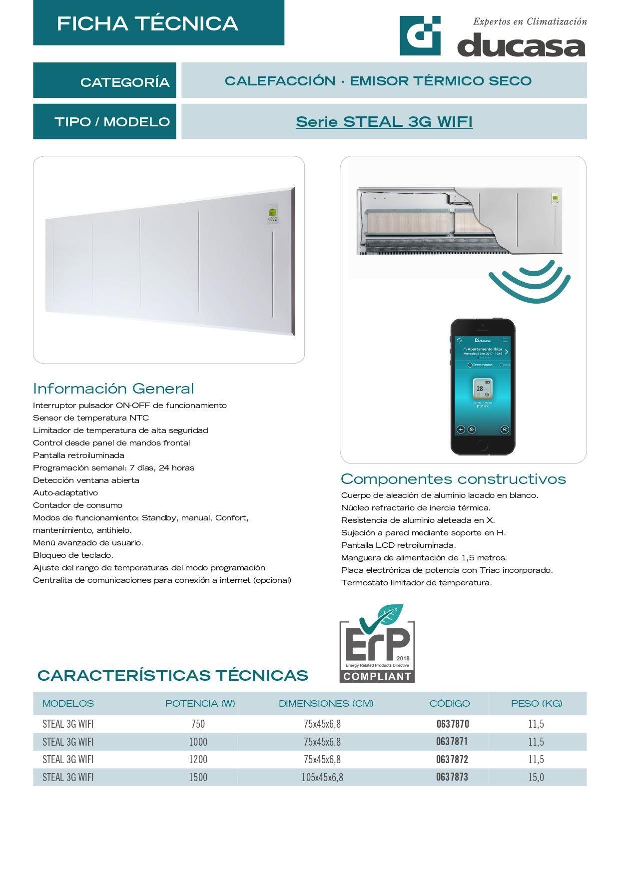 Ficha Técnica Emisor Térmico Ducasa Steal 3G Wifi
