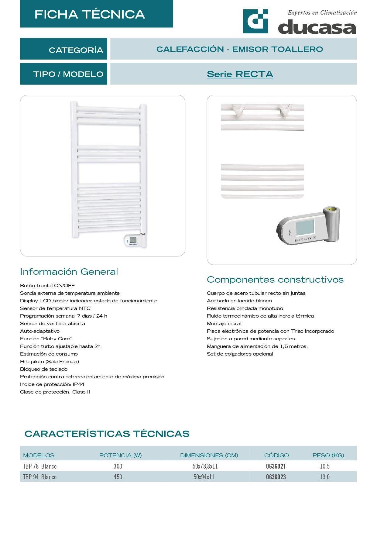 Ficha Técnica Toallero eléctrico Ducasa Recta TBP