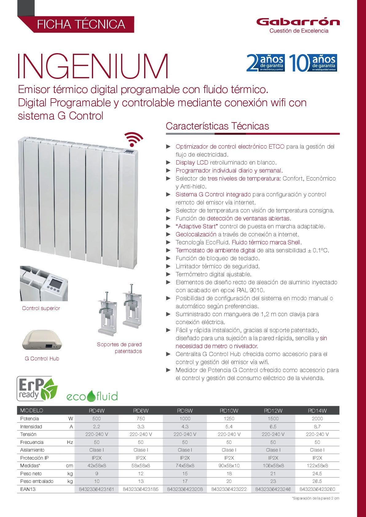 Ficha técnica Emisor térmico Gabarrón Wifi Ingenium