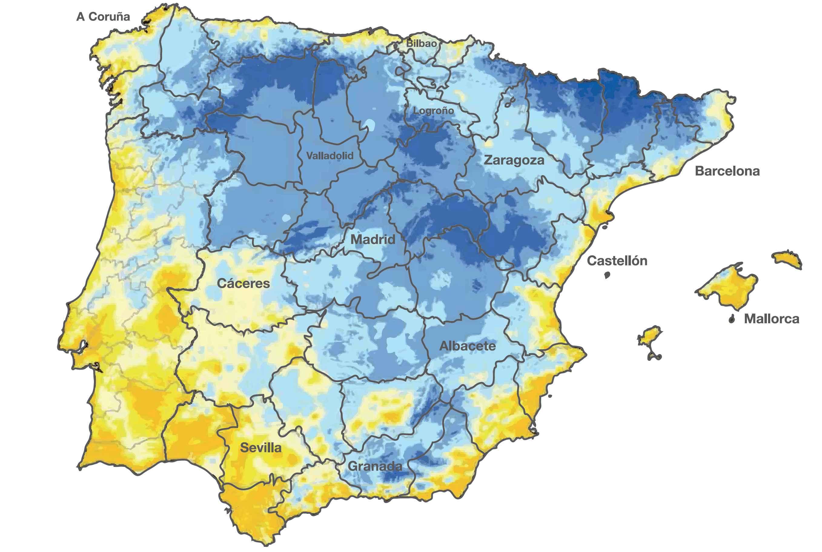 Mapa para el calculo de necesidades Gabarrón