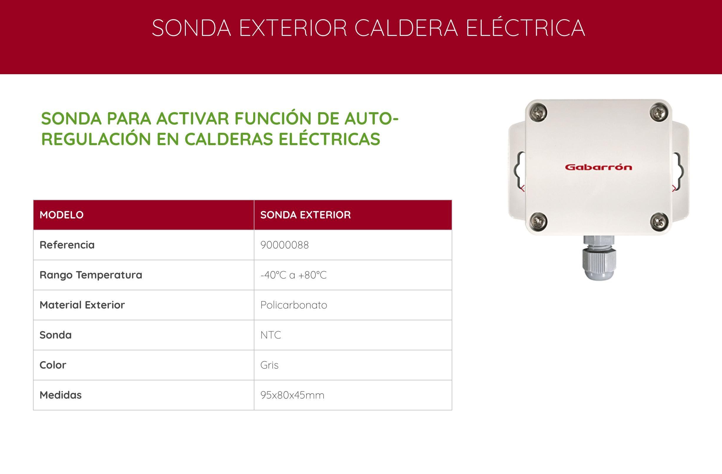 Sonda exterior caldera eléctrica Gabarrón